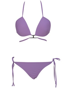 Purple Self Tied Halter Bikini Swimsuits