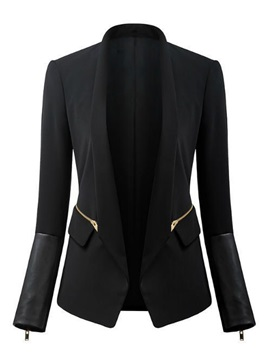 Black Pure Cotton Closed Fitting Stand Collar Work Blazer