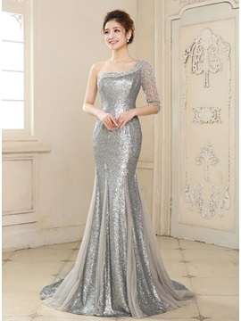 Mermaid One Shoulder Half Sleeve Sequins Beading Long Evening Dress