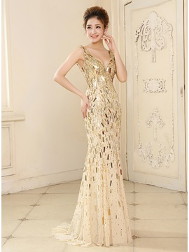 Glittering Mermaid V Neck Sequins Weep Train Long Evening Dress
