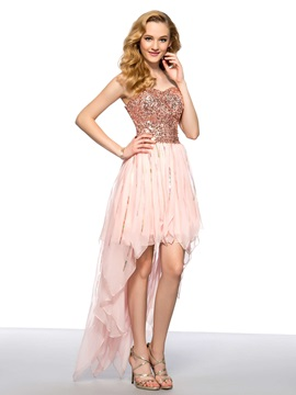 Modern Asymmetrical Sweetheart Sequins Short Homecoming Dress