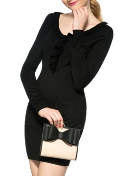 Black Falbala Patchwork Long Sleeve Womens Sweater Dress