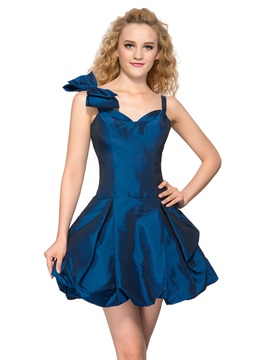 Spaghetti Straps Bowknot A Line Short Homecoming Dress
