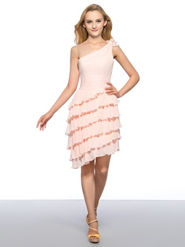 One Shoulder Flower Tiered Ruched Homecoming Dress