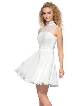 Pure High Neck Lace Pearls A Line Short Homecoming Dress