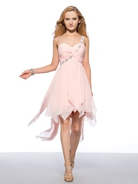 Beaded One Shoulder Ruched Homecoming Dress