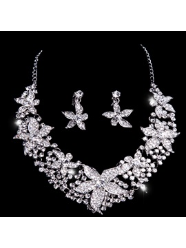 Glittering Rhinestone With Big Floral Alloy Wedding Accessories Wedding Jewelry Set(include Necklace And Earring )