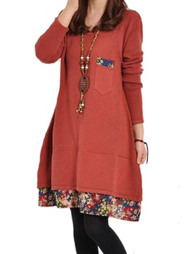 Floral Print Patchwork Long Sleeve Womens Casual Dress