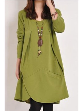 Asym Plain Long Sleeve Pocket Womens Casual Dress