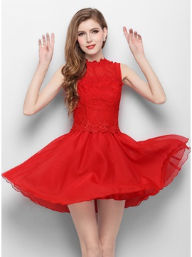 Jewel Neck Lace A Line Short Red Homecoming Dress