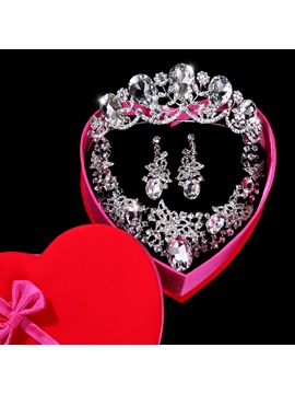 Flowers Big Rhinestone Wedding Jewelry Set Wedding Accessories Including Tiara Necklace And Earrings