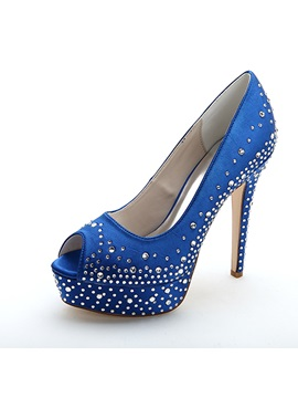 Trendy 3 Colors Beading Peep Toe Platform High Heel Wedding Shoes