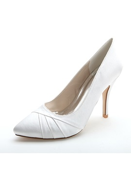 Point Toe Sewed Satin Wedding Shoes
