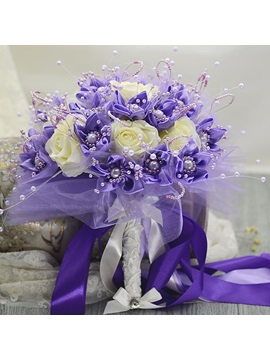 Delicate Purple Cloth Rose Flowers Pearl Bridal Bouquet