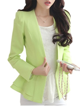 New White Falbala Hem Slim Long Sleeves Blazer