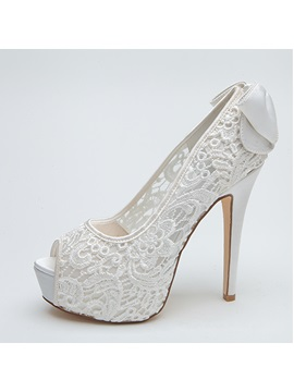 Bowknot Peep Toe Lace Wedding Shoes