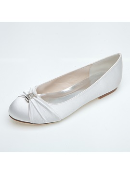 Cozy Rhinestone Flat Wedding Shoes