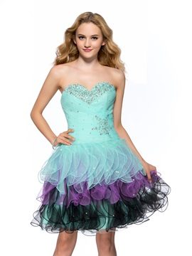Smart Sweetheart Ruched Beading Tiered Short Length Homecoming Dress