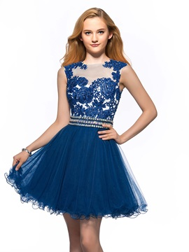 A Line Jewel Neck Appliques Sequins Short Homecoming Dress