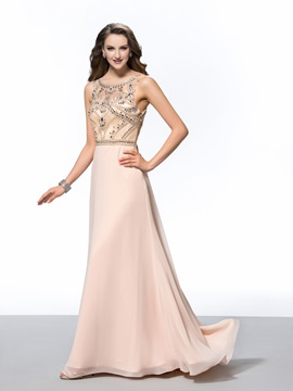Luxurious A Line Scoop Neck Beading Long Evening Dress