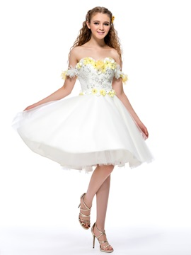 Dazzling Off The Shoulder Flowers Sequins A Line Homecoming Dress