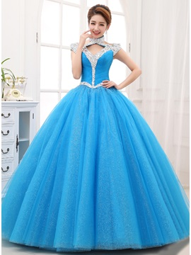 Halter Cap Sleeves Sequins Beading Lace Up Quinceanera Dress
