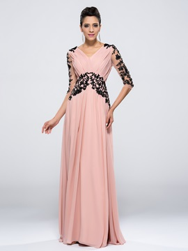 Popular A Line V Neck Half Sleeves Appliques Zipper Up Long Evening Dress