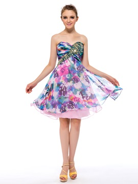 Classy Floral Printing Sequins Sweetheart A Line Short Homecoming Dress