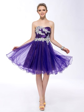 Eye Catching Sequins Appliques Beading Strapless Knee Length Homecoming Prom Dress