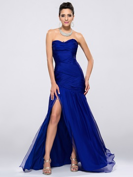 Delicate Ruched Strapless Split Front Sheath Zipper Up Long Evening Dress