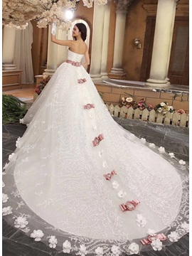 Luxury Flowers Sweetheart Bowknot Cathedral Train Wedding Dress
