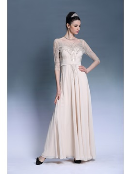 A Line Tulle Neckline Sleeves Sequins Strap Evening Dress