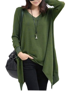 Chic Long Sleeve V Neck Authentic Hem Women Blouse