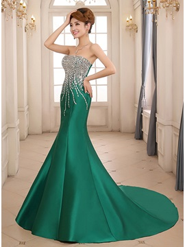 Amazing Mermaid Strapless Beading Chapel Train Lace Up Long Evening Dress