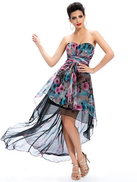 Delicate Sweetheart Floral Printing Asymmetry Zipper Up Homecoming Dress