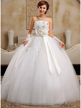 Latest Beaded Appliques Bowknot Floor Length Ball Gown Wedding Dress