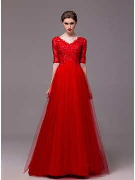 A Line Half Sleeves Appliques Sequins Floor Length Evening Dress
