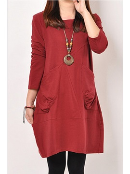 Long Sleeve Pockets Plain Womens Casual Dress