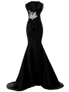 Strapless Mermaid Appliques Floor Length Evening Dress