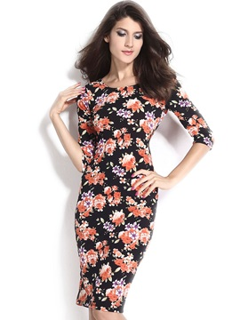 Black Floral Print Low V Back Sheath Dress