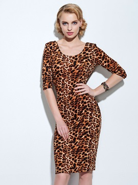 Leopard Print Half Sleeve Womens Work Sheath Dress