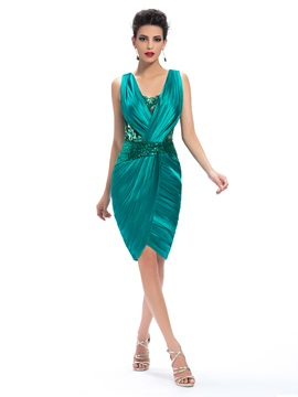 Sheath V Neck Appliques Ruched Knee Length Formal Dress