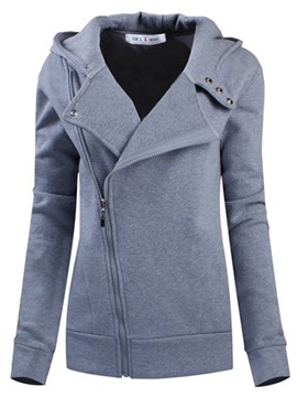 Cool Solid Color Wide Lapel Zip Front Hoodie