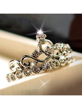 Crown With Rhinestone 925 Sterling Silver Womens Ring