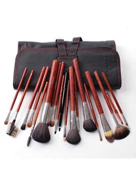 18pcs Wolf Hair Wood Handle Cosmetic Bush Set