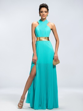 Trendy A Line Halter Split Front Long Evening Dress