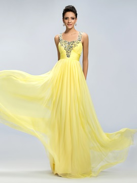 Beading Straps Ruched Empire Prom Dress