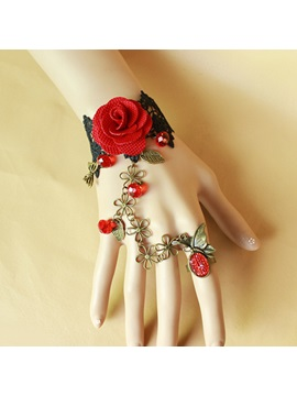 Vintage Gothic Rose And Cute Flowers Black Lace Bracelet