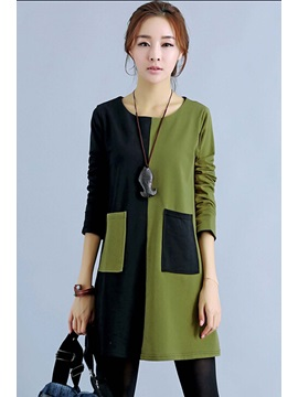 Color Block Round Neck Casual Dress