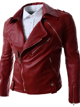 Detachable Sleeves Lapel Zip Front Long Sleeve Pu Mens Jacket